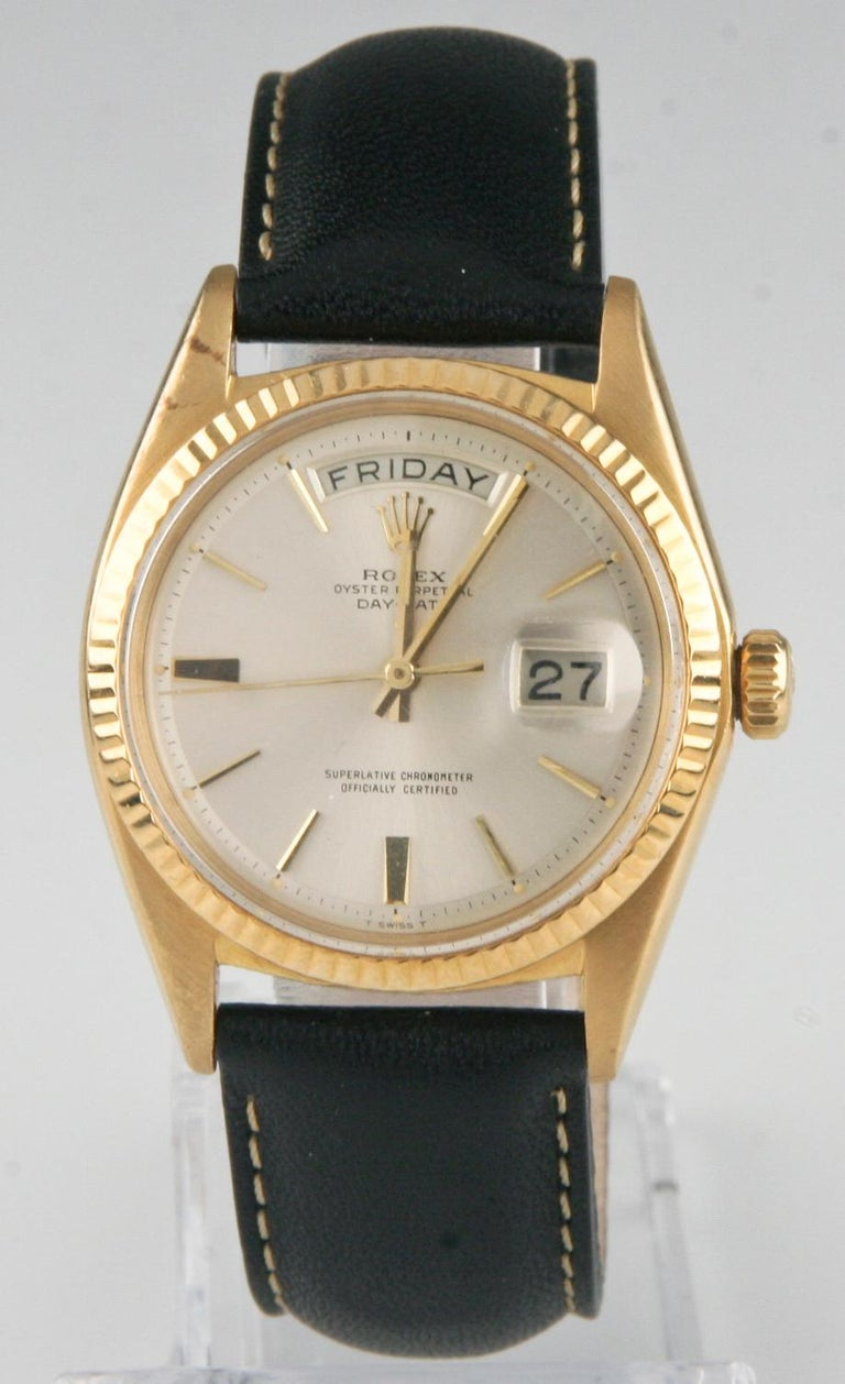 Manufacturer: Rolex Model: President Oyster Perpetual Day-Date Model #1803 Serial number: 1631314 Year: 1963 18k Yellow Gold Case  Width: 35 mm (47 mm including crown) Lug-to-lug distance: 38 mm Thickness: 12 mm Swiss automatic movement Day-Date