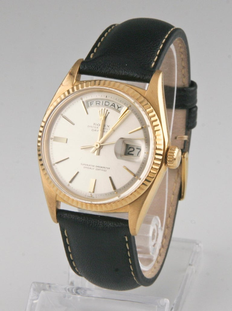 Rolex Oyster Perpetual Day-Date 1960s President 18k Gold with Leather Band #1803 In Good Condition For Sale In Sherman Oaks, CA