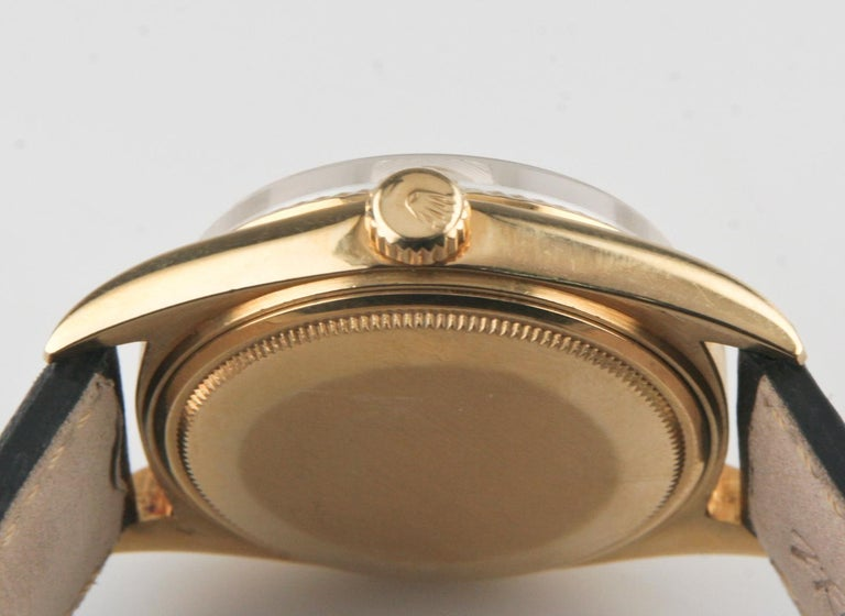 Women's or Men's Rolex Oyster Perpetual Day-Date 1960s President 18k Gold with Leather Band #1803 For Sale