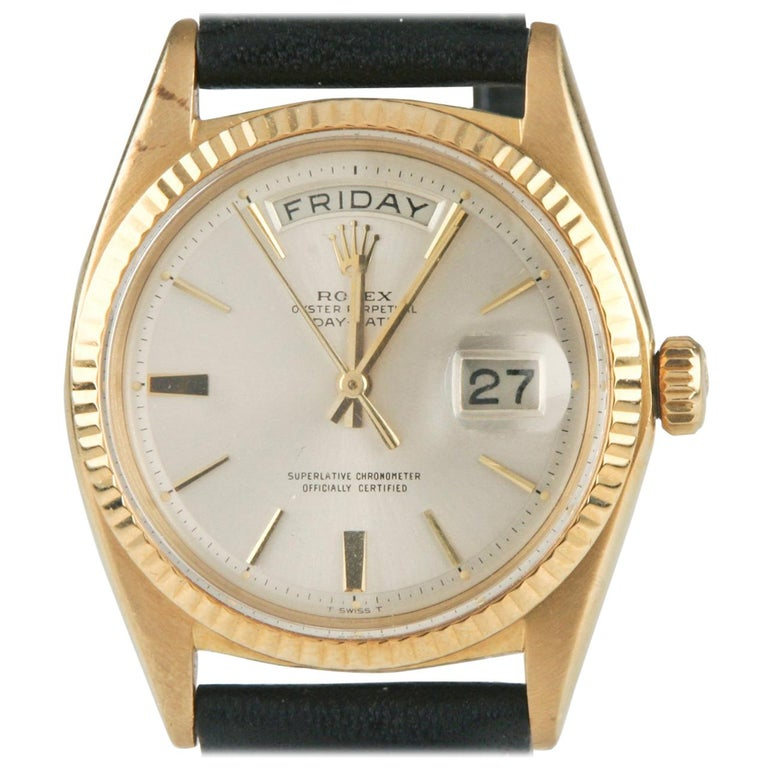 d9ec4e93f0d Rolex Oyster Perpetual Day-Date 1960s President 18k Gold with Leather Band # 1803 For