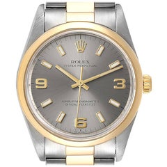 Rolex Oyster Perpetual Domed Bezel Steel Yellow Gold Watch 14203 Box Papers