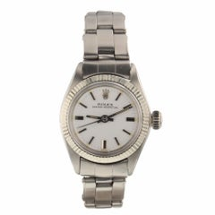 Rolex Oyster Perpetual Ladies Oyster Steel Automatic White Watch 6619