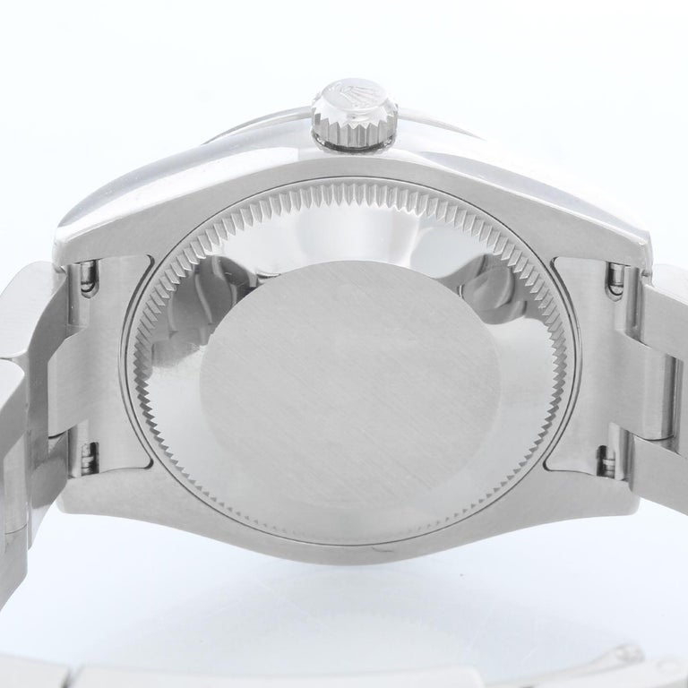 Women's or Men's Rolex Oyster Perpetual No-Date Blue Dial Midsize Steel Watch 177200 For Sale