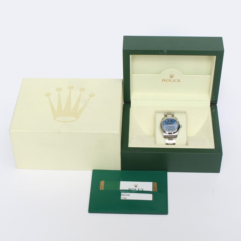 Rolex Oyster Perpetual No-Date Blue Dial Midsize Steel Watch 177200 For Sale 1