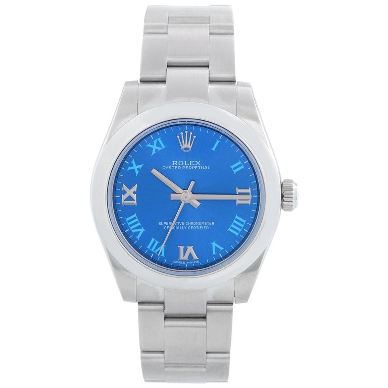 Rolex Oyster Perpetual No-Date Blue Dial Midsize Steel Watch 177200 For Sale