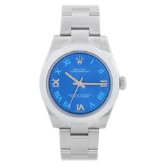 Rolex Oyster Perpetual No-Date Blue Dial Midsize Steel Watch 177200