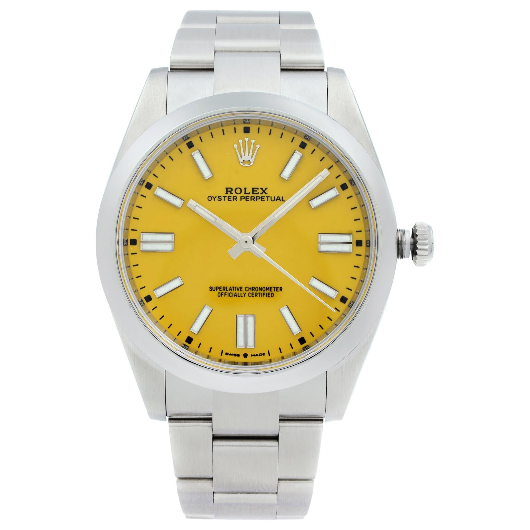 Rolex Oyster Perpetual No Date Steel Yellow Dial Automatic Men's Watch 124300