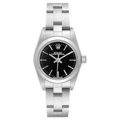 Rolex Oyster Perpetual Nondate Black Dial Steel Ladies Watch 76080