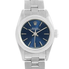 Rolex Oyster Perpetual Nondate Ladies Steel Blue Dial Watch 67180