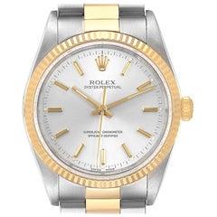 Rolex Oyster Perpetual NonDate Steel 18 Karat Yellow Gold Men's Watch 14233