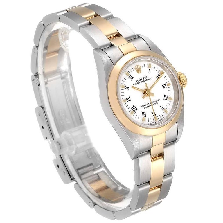 Rolex Oyster Perpetual NonDate Steel Yellow Gold Ladies Watch 67183 In Excellent Condition For Sale In Atlanta, GA