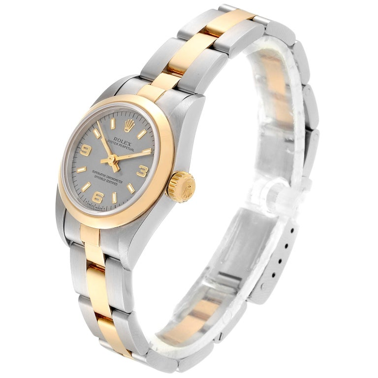 Women's Rolex Oyster Perpetual NonDate Steel Yellow Gold Ladies Watch 67183