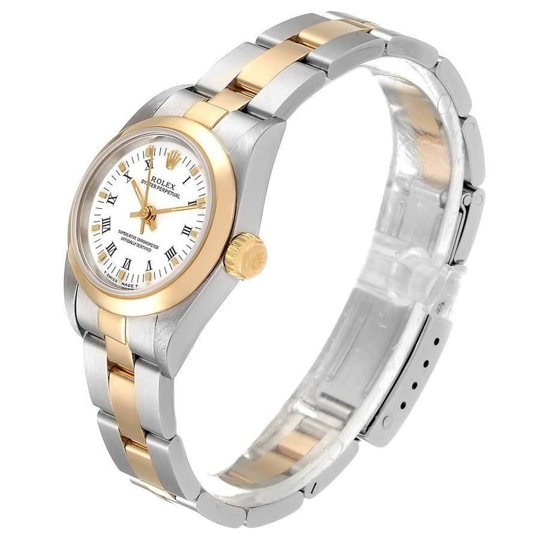 Women's Rolex Oyster Perpetual NonDate Steel Yellow Gold Ladies Watch 67183 For Sale