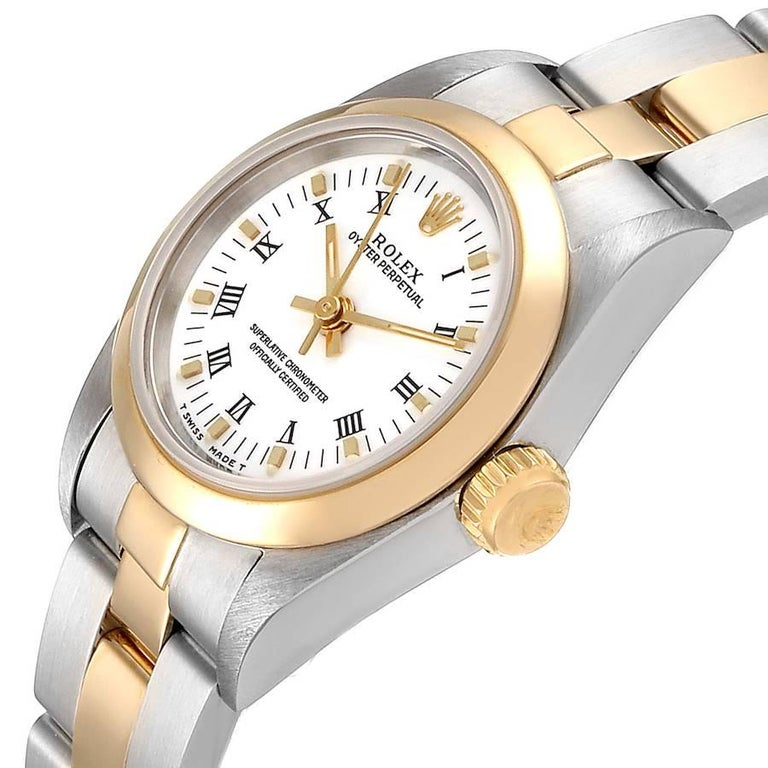 Rolex Oyster Perpetual NonDate Steel Yellow Gold Ladies Watch 67183 For Sale 1