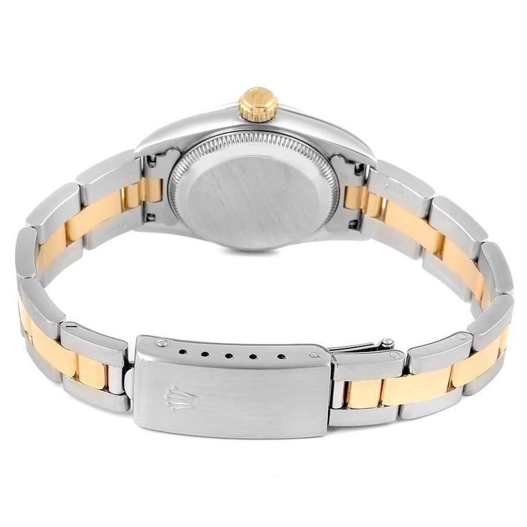 Rolex Oyster Perpetual NonDate Steel Yellow Gold Ladies Watch 67183 For Sale 5