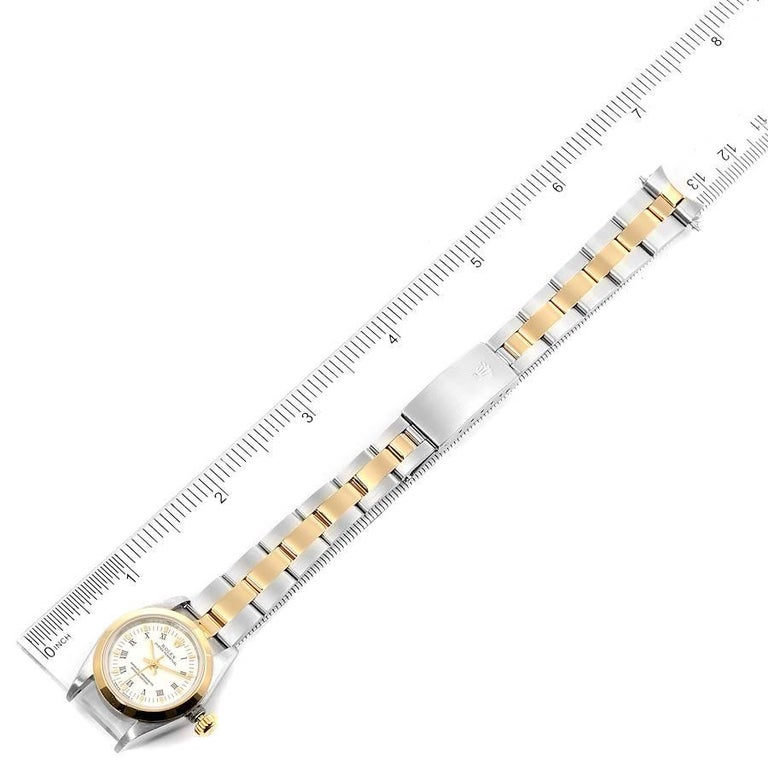 Rolex Oyster Perpetual NonDate Steel Yellow Gold Ladies Watch 67183 For Sale 6