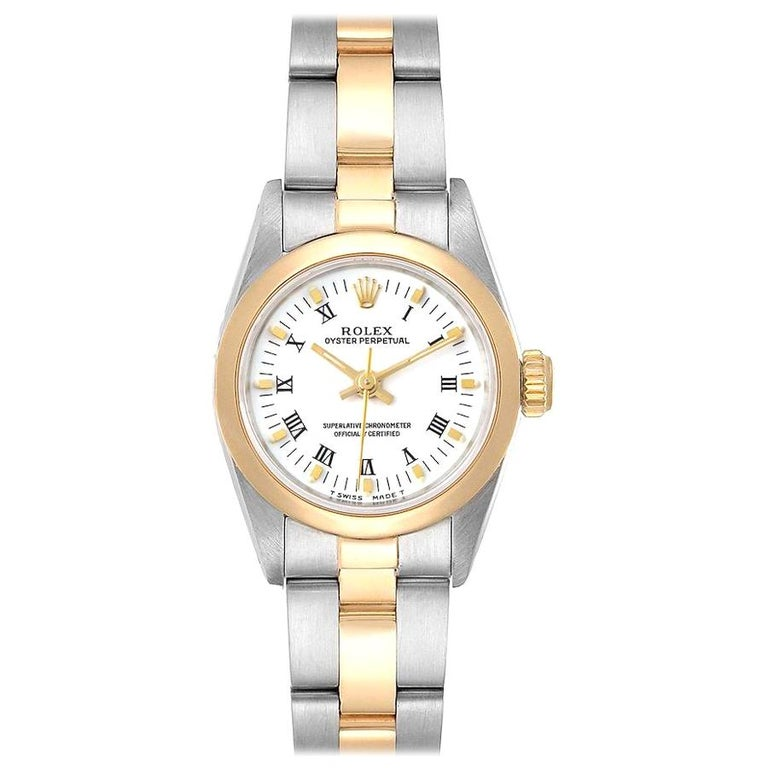Rolex Oyster Perpetual NonDate Steel Yellow Gold Ladies Watch 67183 For Sale