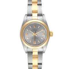 Rolex Oyster Perpetual Nondate Steel Yellow Gold Watch 76183 Box Papers