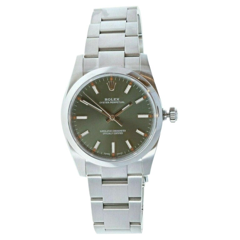 Rolex Oyster Perpetual Olive Green Stainless Steel Watch 114200 Box & Paper For Sale
