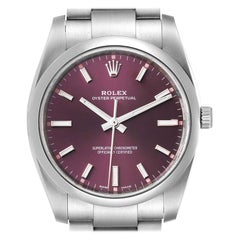 Rolex Oyster Perpetual Red Grape Dial Mens Watch 114200 Box Card