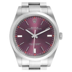 Rolex Oyster Perpetual Red Grape Dial Steel Men's Watch 114300 Box Card
