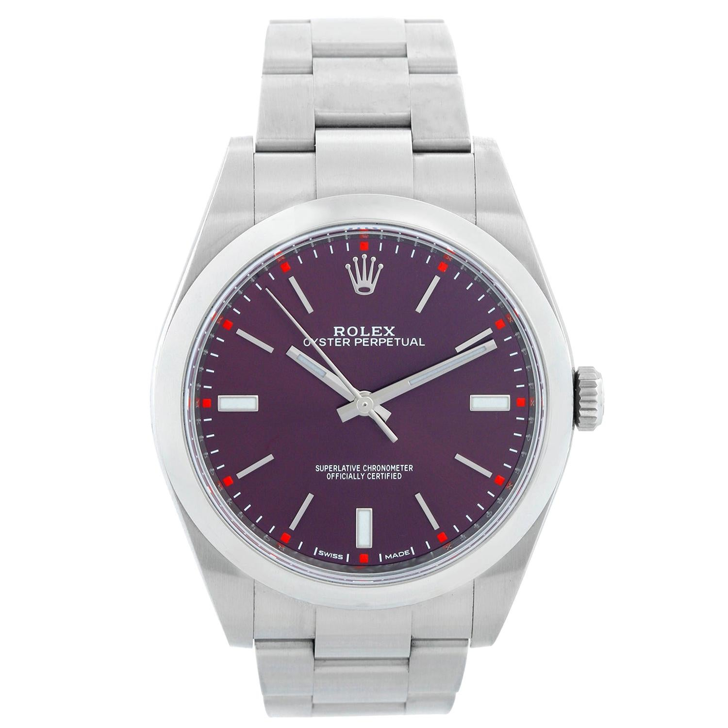 "Rolex Oyster Perpetual ""Red Grape"" Watch 114300"