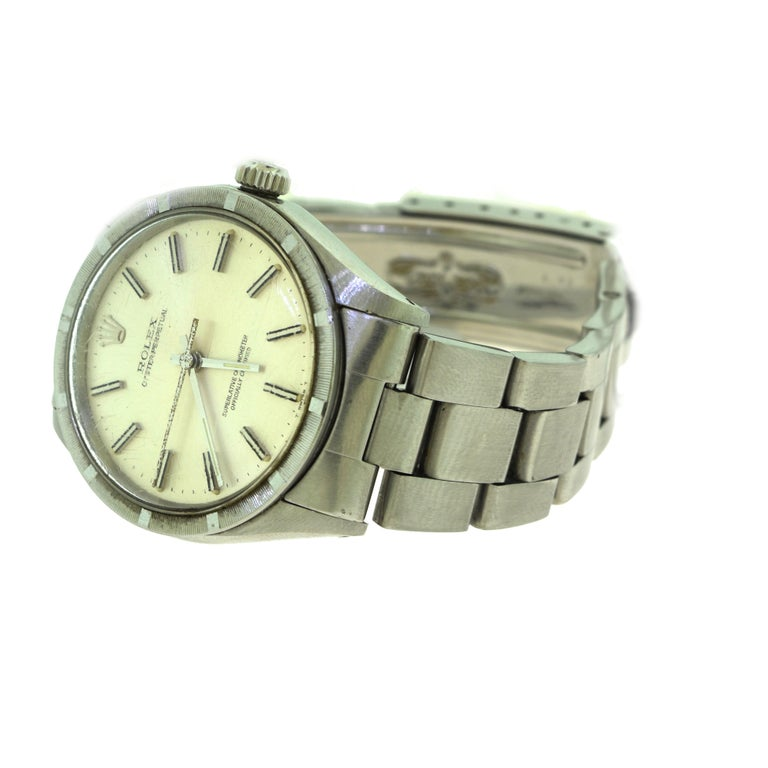 Women's or Men's Rolex Oyster Perpetual Ref. 1007 Stainless Steel Champagne Dial Watch 'R-8' For Sale
