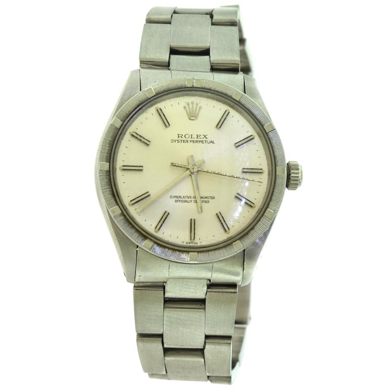 Rolex Oyster Perpetual Ref. 1007 Stainless Steel Champagne Dial Watch 'R-8' For Sale