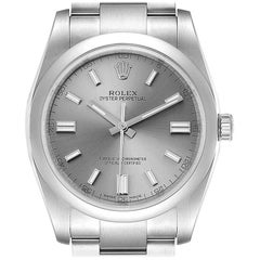 Rolex Oyster Perpetual Rhodium Dial Steel Men's Watch 116000 Box Card