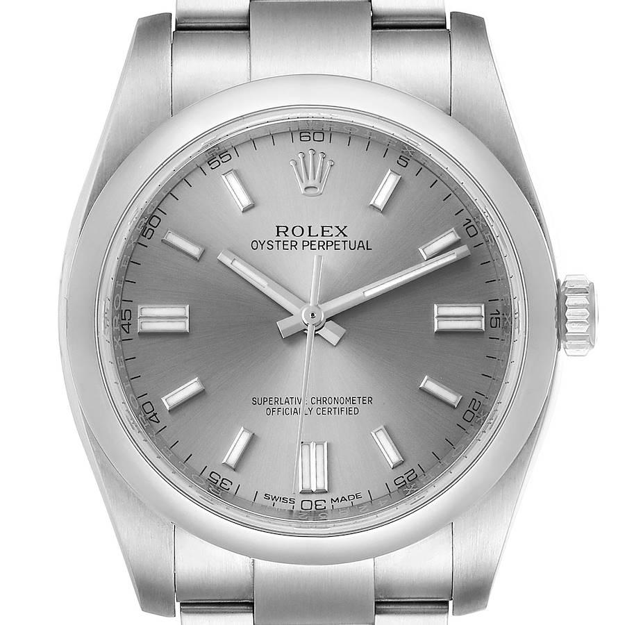 Rolex Oyster Perpetual Rhodium Dial Steel Mens Watch 116000 Box Card