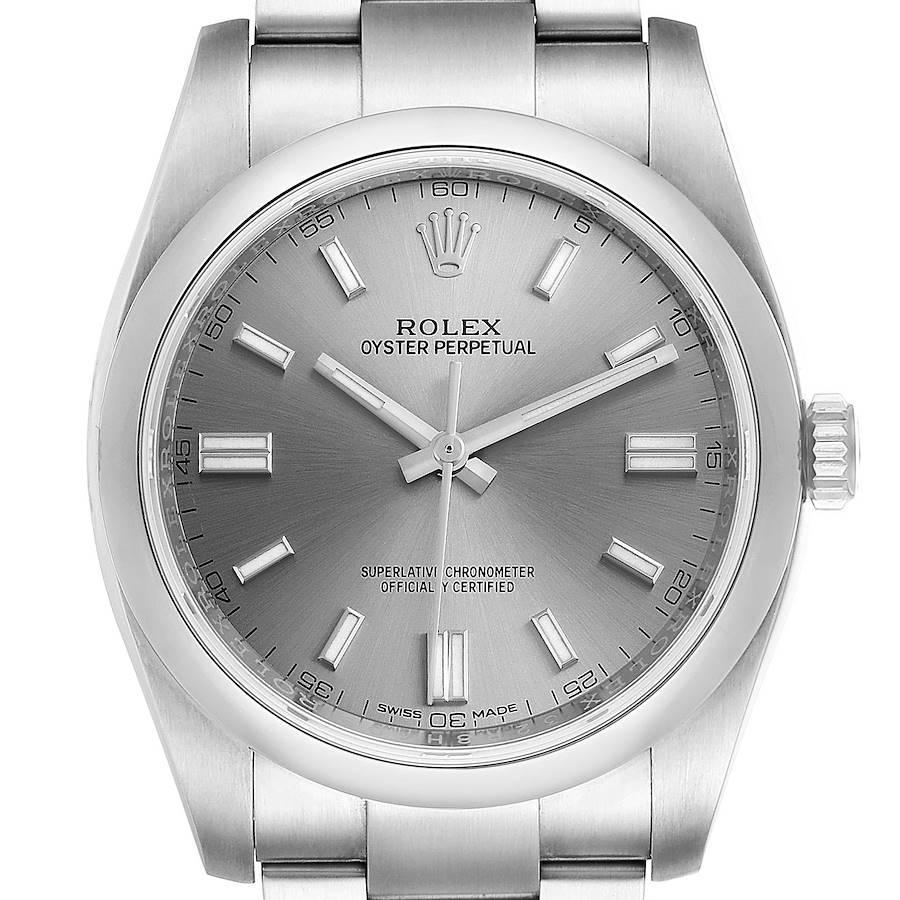 Rolex Oyster Perpetual Rhodium Dial Steel Mens Watch 116000 Unworn