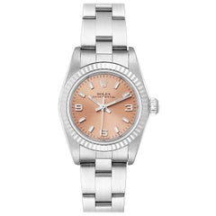 Rolex Oyster Perpetual Salmon Dial Steel White Gold Ladies Watch 76094