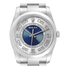 Rolex Oyster Perpetual Silver Blue Concentric Dial Unisex Watch 116000