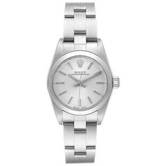 Rolex Oyster Perpetual Silver Dial Steel Ladies Watch 76080 Papers