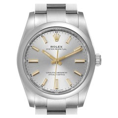 Rolex Oyster Perpetual Silver Dial Steel Mens Watch 124200 Box Card