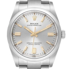 Rolex Oyster Perpetual Silver Dial Steel Mens Watch 126000 Unworn