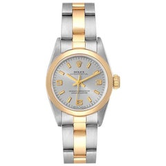 Rolex Oyster Perpetual Slate Dial Steel Yellow Gold Ladies Watch 76193 Box