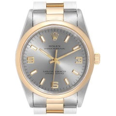 Rolex Oyster Perpetual Slate Dial Steel Yellow Gold Men's Watch 14203