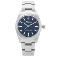 Rolex Oyster Perpetual Steel Blue Dial Automatic Midsize Watch 124200