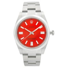 Rolex Oyster Perpetual Steel Coral Red Dial Automatic Men's Watch 124300