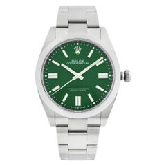 Rolex Oyster Perpetual Steel Green Dial Automatic Smooth Men's Watch 124300