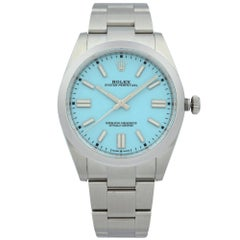 Rolex Oyster Perpetual Steel Tiffany Blue Dial Automatic Men's Watch 124300