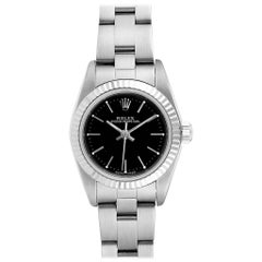 Rolex Oyster Perpetual Steel White Gold Black Dial Ladies Watch 76094