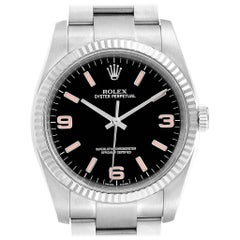 Rolex Oyster Perpetual Steel White Gold Black Dial Men's Watch 116034