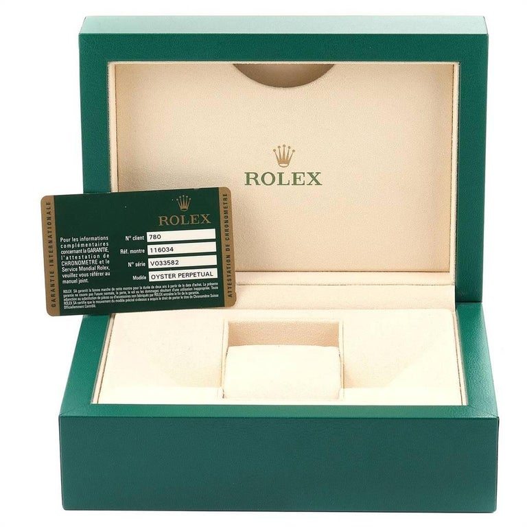 Rolex Oyster Perpetual Steel White Gold Black Dial Watch 116034 Box Card For Sale 8