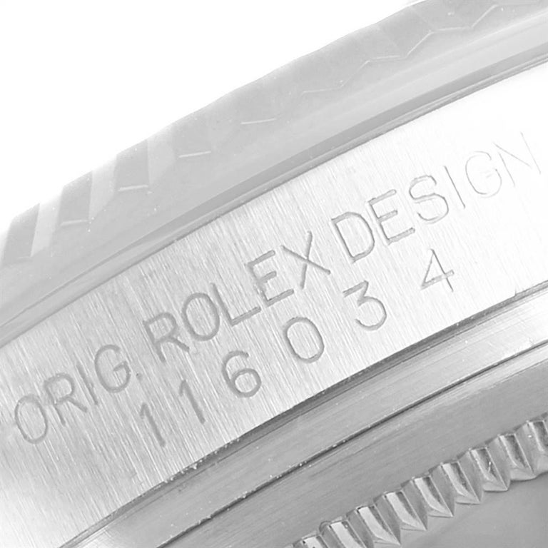 Rolex Oyster Perpetual Steel White Gold Black Dial Watch 116034 Box Card For Sale 3