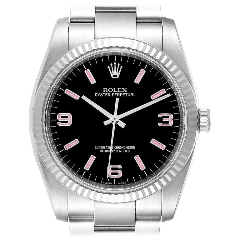 Rolex Oyster Perpetual Steel White Gold Black Dial Watch 116034 Box Card For Sale