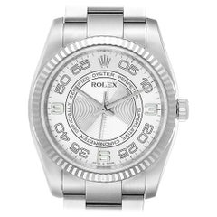 Rolex Oyster Perpetual Steel White Gold Silver Dial Men's Watch 116034