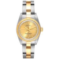 Rolex Oyster Perpetual Steel Yellow Gold Champagne Dial Ladies Watch 76243