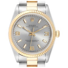 Rolex Oyster Perpetual Steel Yellow Gold Slate Dial Men's Watch 14233